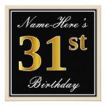 [ Thumbnail: Elegant, Black, Faux Gold 31st Birthday + Name Invitation ]
