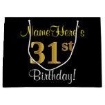 [ Thumbnail: Elegant, Black, Faux Gold 31st Birthday + Name Gift Bag ]