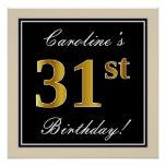 [ Thumbnail: Elegant, Black, Faux Gold 31st Birthday + Name Poster ]