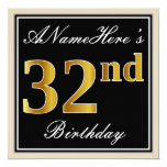 [ Thumbnail: Elegant, Black, Faux Gold 32nd Birthday + Name Invitation ]