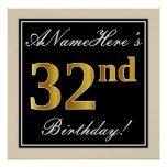 [ Thumbnail: Elegant, Black, Faux Gold 32nd Birthday + Name Poster ]