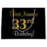 [ Thumbnail: Elegant, Black, Faux Gold 33rd Birthday + Name Gift Bag ]
