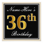 [ Thumbnail: Elegant, Black, Faux Gold 36th Birthday + Name Invitation ]