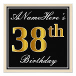 [ Thumbnail: Elegant, Black, Faux Gold 38th Birthday + Name Invitation ]