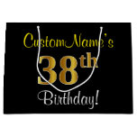 [ Thumbnail: Elegant, Black, Faux Gold 38th Birthday + Name Gift Bag ]