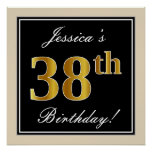 [ Thumbnail: Elegant, Black, Faux Gold 38th Birthday + Name Poster ]