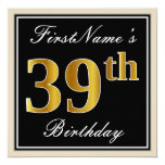 [ Thumbnail: Elegant, Black, Faux Gold 39th Birthday + Name Invitation ]