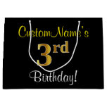 [ Thumbnail: Elegant, Black, Faux Gold 3rd Birthday + Name Gift Bag ]