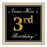 [ Thumbnail: Elegant, Black, Faux Gold 3rd Birthday + Name Poster ]