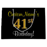 [ Thumbnail: Elegant, Black, Faux Gold 41st Birthday + Name Gift Bag ]