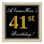 [ Thumbnail: Elegant, Black, Faux Gold 41st Birthday + Name Poster ]
