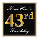 [ Thumbnail: Elegant, Black, Faux Gold 43rd Birthday + Name Invitation ]