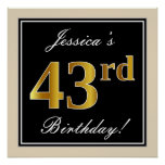[ Thumbnail: Elegant, Black, Faux Gold 43rd Birthday + Name Poster ]