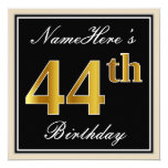 [ Thumbnail: Elegant, Black, Faux Gold 44th Birthday + Name Invitation ]