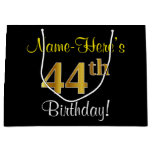 [ Thumbnail: Elegant, Black, Faux Gold 44th Birthday + Name Gift Bag ]