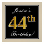 [ Thumbnail: Elegant, Black, Faux Gold 44th Birthday + Name Poster ]
