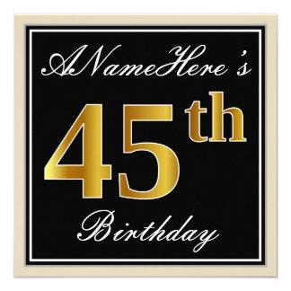 Elegant, Black, Faux Gold 45th Birthday + Name Card