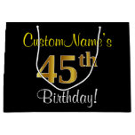 [ Thumbnail: Elegant, Black, Faux Gold 45th Birthday + Name Gift Bag ]
