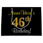 [ Thumbnail: Elegant, Black, Faux Gold 46th Birthday + Name Gift Bag ]