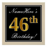 [ Thumbnail: Elegant, Black, Faux Gold 46th Birthday + Name Poster ]
