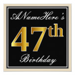 [ Thumbnail: Elegant, Black, Faux Gold 47th Birthday + Name Invitation ]