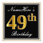 [ Thumbnail: Elegant, Black, Faux Gold 49th Birthday + Name Invitation ]
