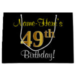 [ Thumbnail: Elegant, Black, Faux Gold 49th Birthday + Name Gift Bag ]