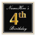 [ Thumbnail: Elegant, Black, Faux Gold 4th Birthday + Name Invitation ]