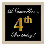 [ Thumbnail: Elegant, Black, Faux Gold 4th Birthday + Name Poster ]