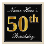 [ Thumbnail: Elegant, Black, Faux Gold 50th Birthday + Name Invitation ]