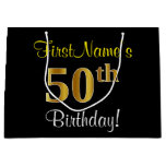 [ Thumbnail: Elegant, Black, Faux Gold 50th Birthday + Name Gift Bag ]