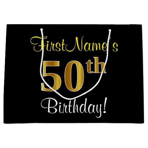 Elegant, Black, Faux Gold 50th Birthday + Name Large Gift Bag