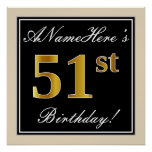 [ Thumbnail: Elegant, Black, Faux Gold 51st Birthday + Name Poster ]
