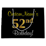 [ Thumbnail: Elegant, Black, Faux Gold 52nd Birthday + Name Gift Bag ]