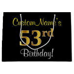 [ Thumbnail: Elegant, Black, Faux Gold 53rd Birthday + Name Gift Bag ]