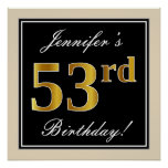 [ Thumbnail: Elegant, Black, Faux Gold 53rd Birthday + Name Poster ]