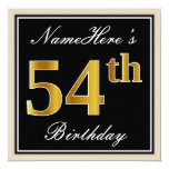 [ Thumbnail: Elegant, Black, Faux Gold 54th Birthday + Name Invitation ]