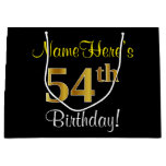 [ Thumbnail: Elegant, Black, Faux Gold 54th Birthday + Name Gift Bag ]