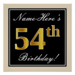 [ Thumbnail: Elegant, Black, Faux Gold 54th Birthday + Name Poster ]