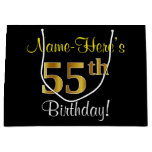[ Thumbnail: Elegant, Black, Faux Gold 55th Birthday + Name Gift Bag ]
