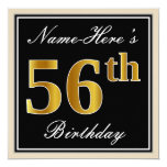[ Thumbnail: Elegant, Black, Faux Gold 56th Birthday + Name Invitation ]
