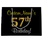 [ Thumbnail: Elegant, Black, Faux Gold 57th Birthday + Name Gift Bag ]