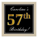 [ Thumbnail: Elegant, Black, Faux Gold 57th Birthday + Name Poster ]