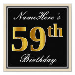 [ Thumbnail: Elegant, Black, Faux Gold 59th Birthday + Name Invitation ]