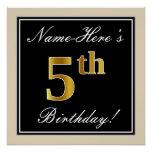 [ Thumbnail: Elegant, Black, Faux Gold 5th Birthday + Name Poster ]