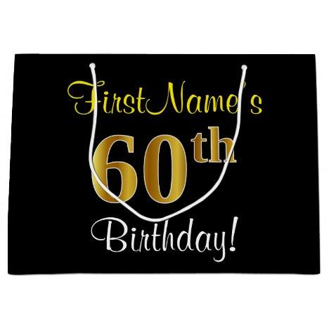 Elegant, Black, Faux Gold 60th Birthday + Name Large Gift Bag