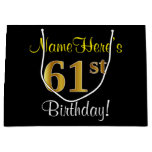 [ Thumbnail: Elegant, Black, Faux Gold 61st Birthday + Name Gift Bag ]