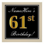 [ Thumbnail: Elegant, Black, Faux Gold 61st Birthday + Name Poster ]