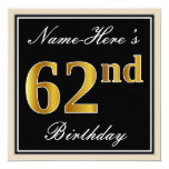 [ Thumbnail: Elegant, Black, Faux Gold 62nd Birthday + Name Invitation ]