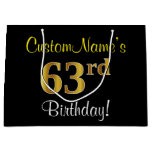 [ Thumbnail: Elegant, Black, Faux Gold 63rd Birthday + Name Gift Bag ]